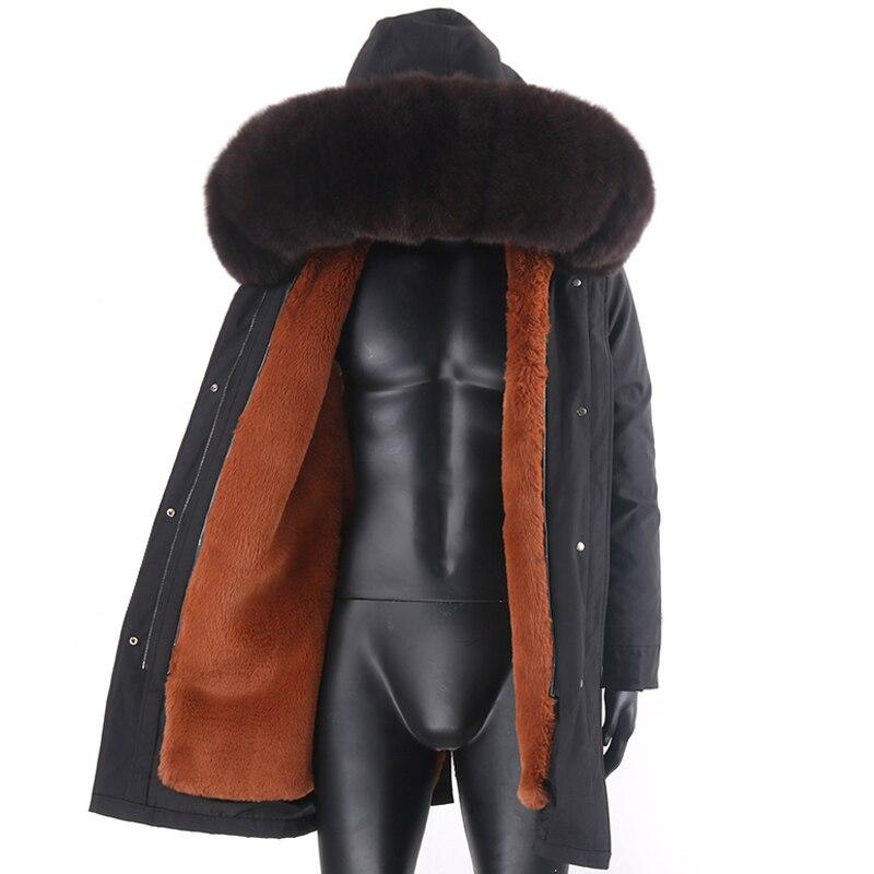 Мужская непромокаемая парка с капюшоном из меха енота, длинная теплая непромокаемая куртка с подкладкой из искусственного кроличьего меха ...