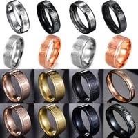 1 pc boys men black ring stainless steel rings engraved kingqueendadmom lovers couple ring
