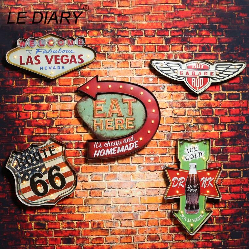 LEDIARY Restaurant Bar LED Wall Lamp Cafe Decor Big Sconce Lighting Retro Iron Route 66 Cola Ice Cream Remote Control Light