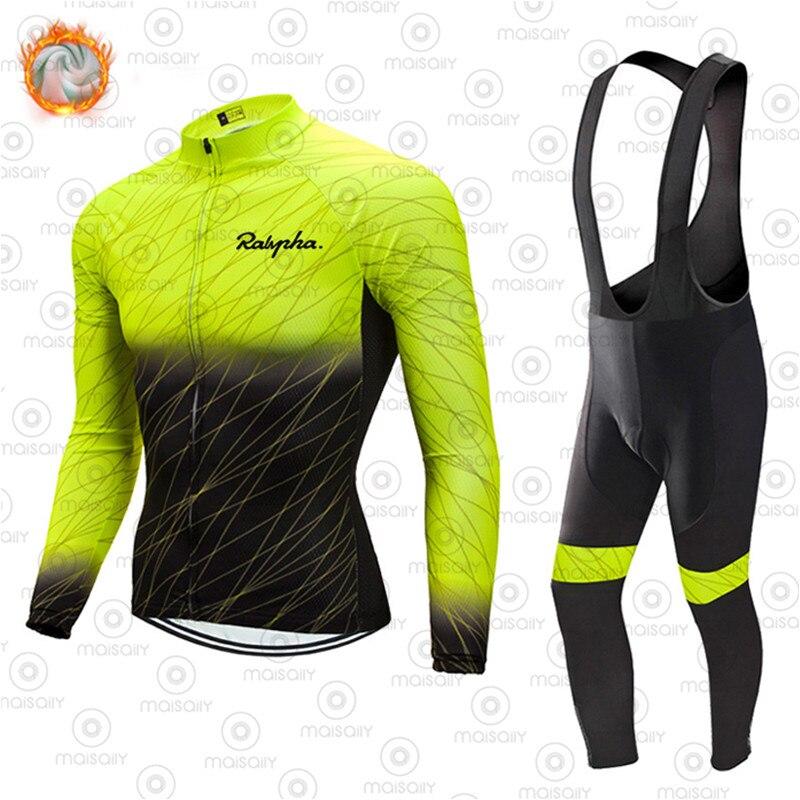 Ralvpha-Conjunto de camisetas de Ciclismo para Invierno, Ropa térmica de lana para...