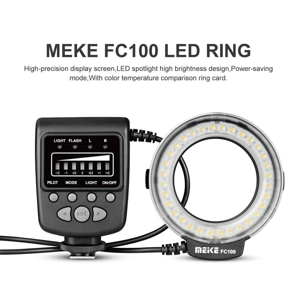 Speedlite led flash luz anel speedlite lâmpada de preenchimento meike fc100 único contato tipo popular manual universal para câmera dslr