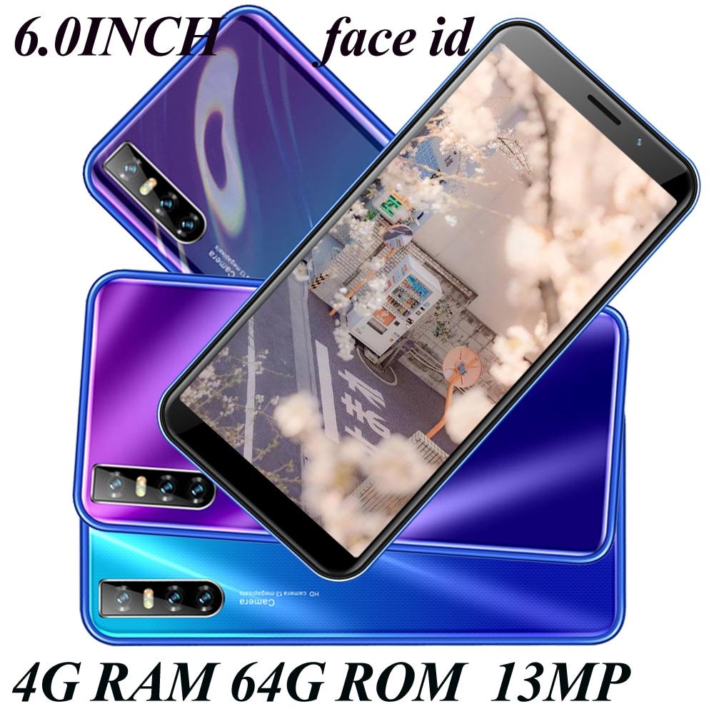 Nota 20 telefones celulares android 4g ram 64g rom quad core face desbloqueado note20 smartphones 13mp hd câmera traseira 6.0 polegada tela grande