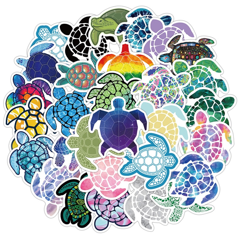40 pçs colorido mar tartaruga adesivos adorável pequena tartaruga decalque para bagagem portátil skate bonito dos desenhos animados animal caderno adesivo