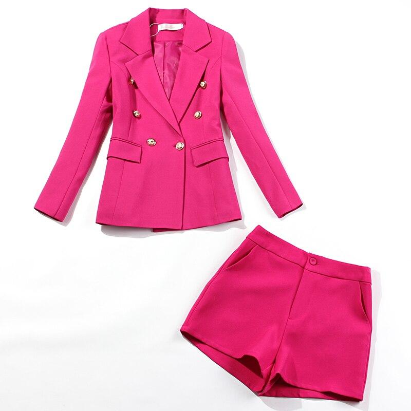 Trajes de oficina de otoño para mujer, traje de chaqueta de color rojo rosa con doble botonadura ajustado, pantalones cortos casuales femeninos, conjuntos de dos piezas