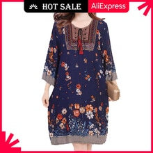 Women Casual Spring Dress 2021 Lady Korean Style Vintage Floral Printed Plus Size Dress Long Sleeve