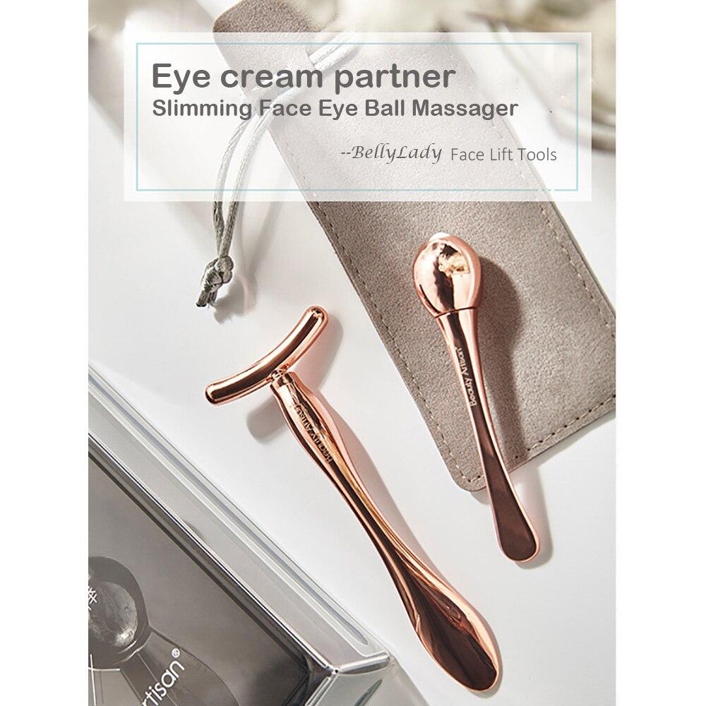 Роликовый массажер для лица, 2 шт., антивозрастной Массажер для подтяжки кожи, массажер для глаз с шариком + массажный инструмент для лица Т-т...