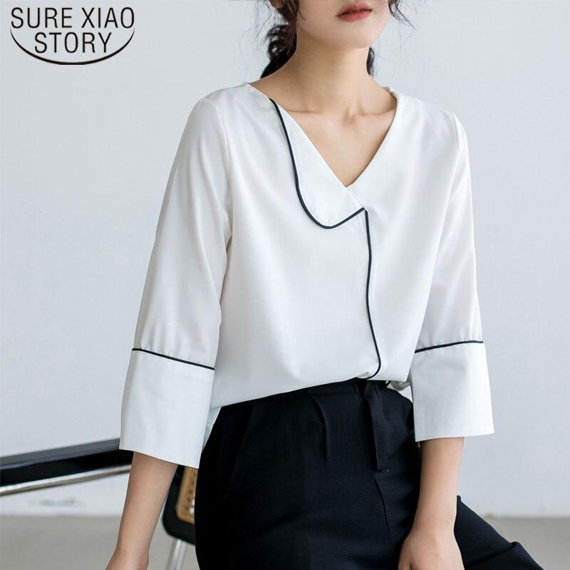 Blusa de chiffon casual branco preto três quartos solto costura topos de verão para mulher 2019 blusas femininas e blusa 5251 50