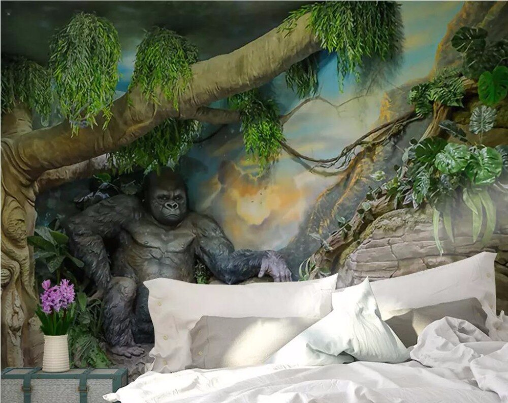 CJSIR Custom Wallpaper Hand-painted Gorilla Childrens Room Murals Home Decor Living Room TV Background Walls 3d Wallpaper