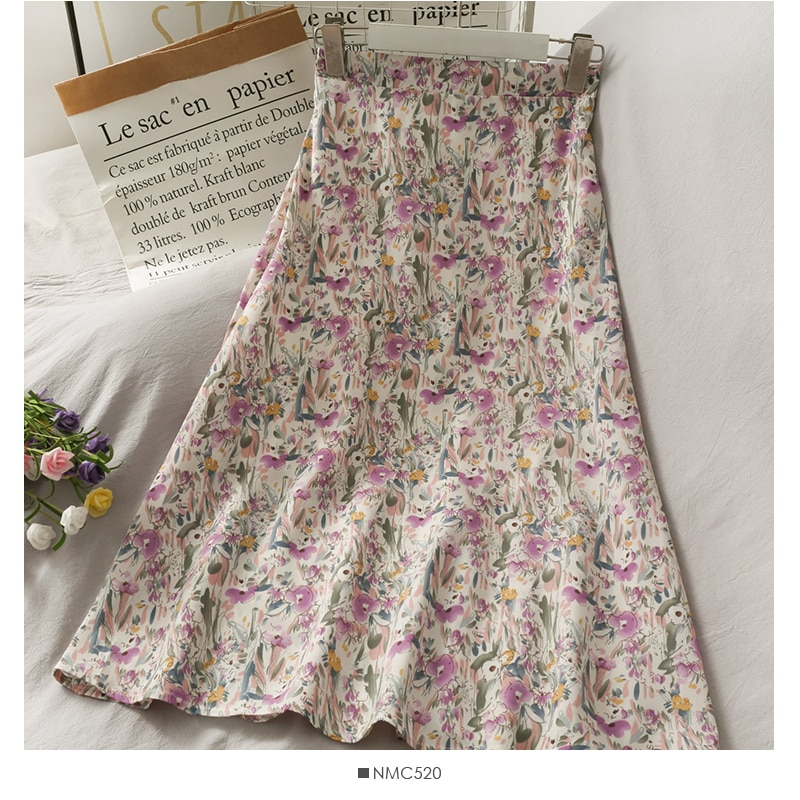 Spring Summer Womens Vintage Chiffon Skirt 2021Korean Clothing Kawaii Floral Mid-Length High-Waisted Female