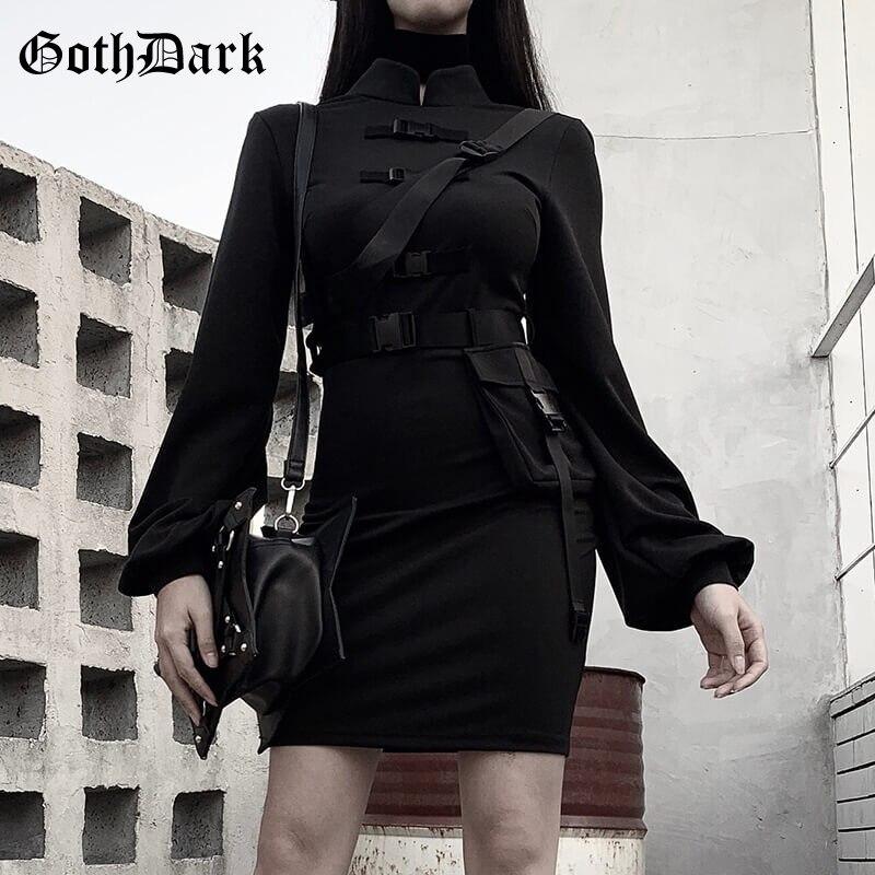 Goth Dark Vintage Emo Gothic Women Dress Harajuku 2020 Flare Sleeve Punk Y2K Aesthetic Female Dresses Buckle Button Chic Egirl
