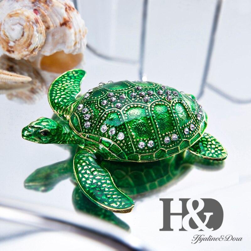H & D Articulada Caixa de Jóias Trinket Pintados À Mão Caixas de Jóias Sea Turtle Anel Colar Coletivos Xmas Presente de Casamento Em Casa decoração