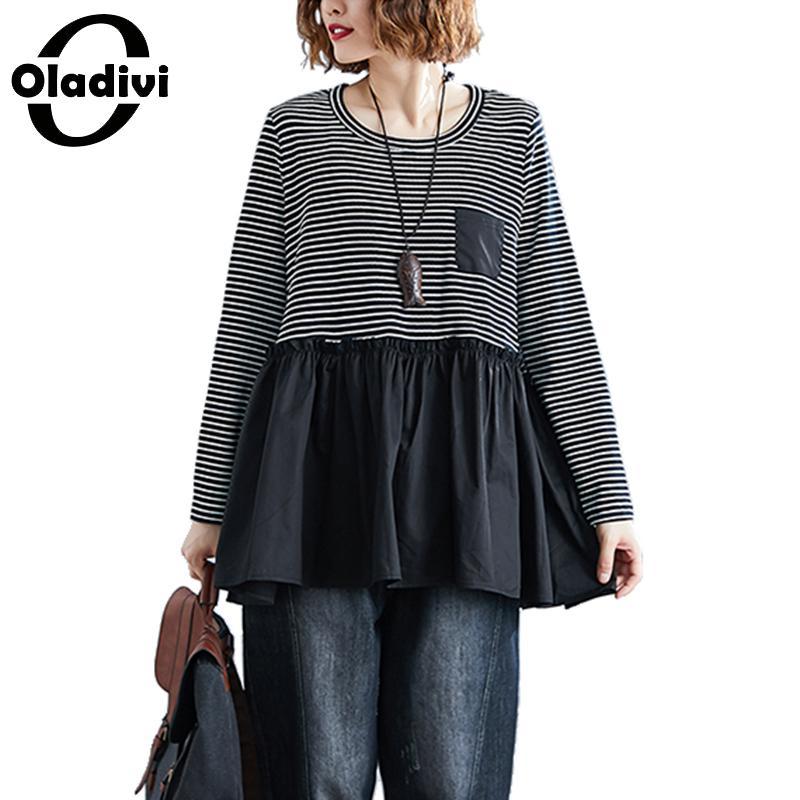 Oladivi, ropa de mujer de talla grande, novedad de primavera de 2010, camiseta a rayas de retales, camiseta negra de manga larga, camisetas, Túnica femenina