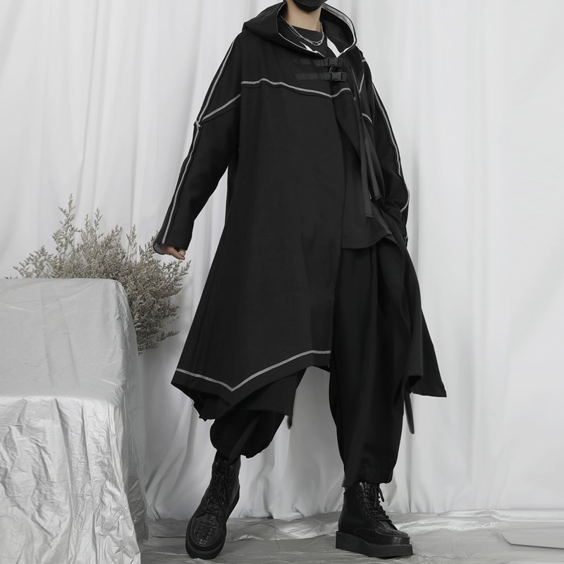سترة واقية جديدة كبيرة للرجال معطف متوسط وطويل ياماموتو ياماموتو كيب روفيان وسيم فضفاض بقلنسوة معطف تويد موضة