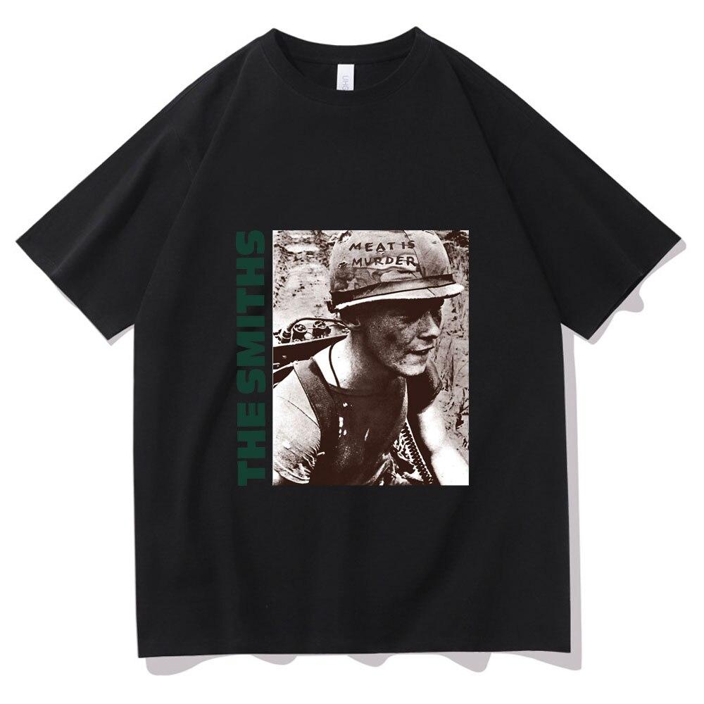 The Smiths, модная футболка, английская рок-группа, с принтом мяса убийца, 1985, Morrissey Marr, мужская и женская Свободная футболка, мужские футболки в ст...