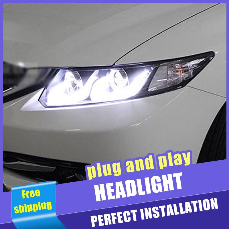 2 pçs estilo do carro faróis led para honda civic para 2012-2015 civic cabeça lâmpada led drl lente feixe duplo h7 hid xenon bi xenon lente