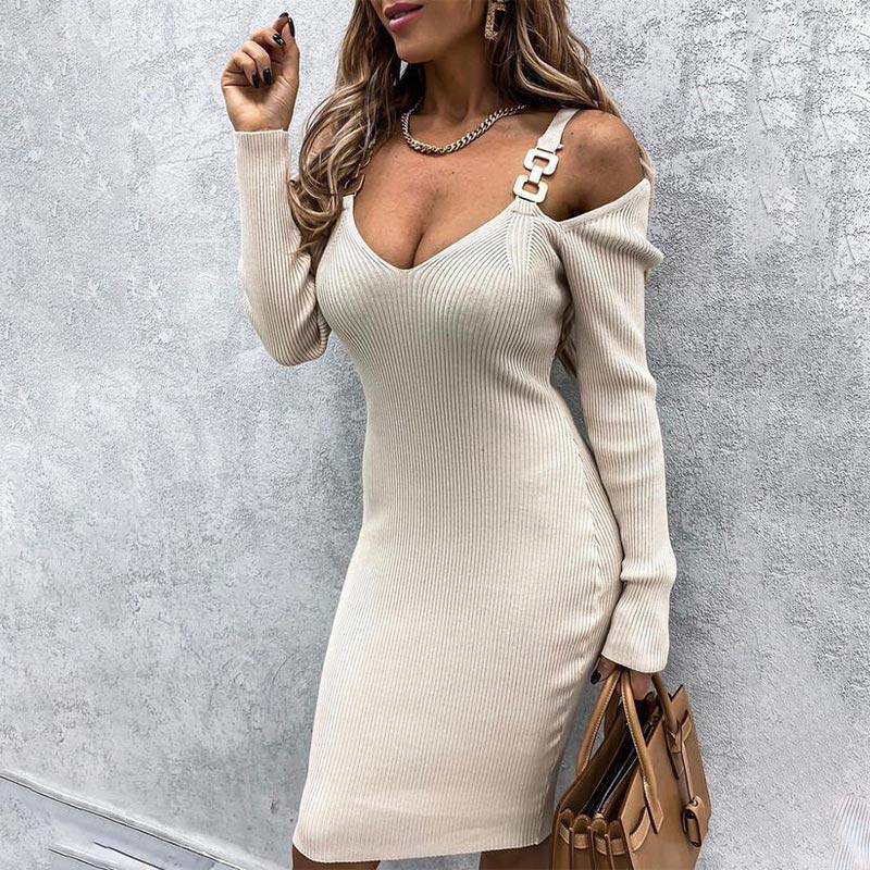 Fora do ombro com nervuras com decote em v vestido midi feminino botão de metal manga longa vestidos de estilingue feminino 2021 novo sólido magro feminino