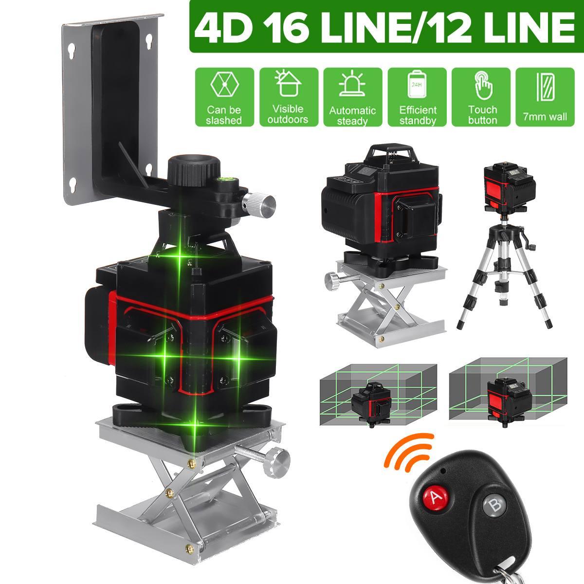 مستويات الليزر 16/12 خطوط ثلاثية الأبعاد/4D الضوء الأخضر الأفقي والرأسي الصليب 360 مستويات الليزر الذاتي التسوية و 6000mAh البطارية و ترايبود
