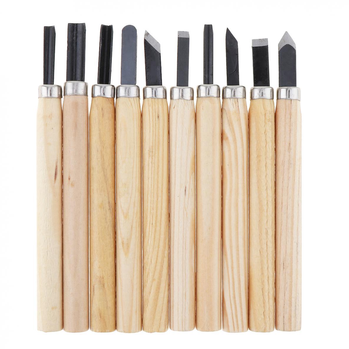 Juego de 10 unidades de Mini cinceles tallados con mango de madera, juego de herramientas de corte práctico, accesorios de herramientas