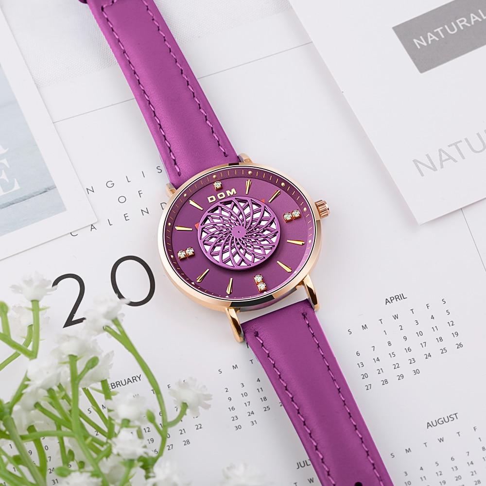 DOM New Women Watches Luxury Brand Ladies Dress Wristwatch Waterproof Leather Elgent Purple Women Clock Montre Femme G-1285GL enlarge