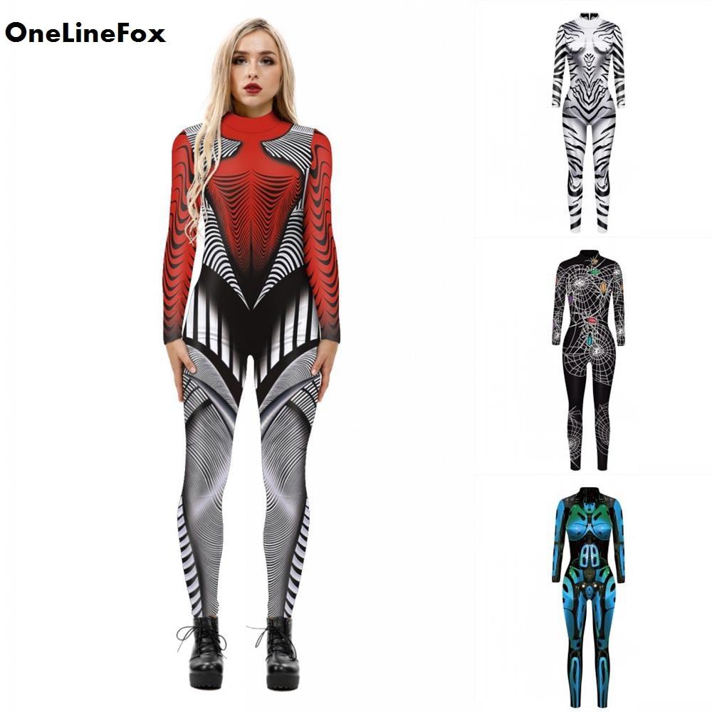 Disfraz de Halloween para mujer de OneLineFox, disfraz de Robot Cosplay con estampado de Calavera, disfraz de carnaval, peleles