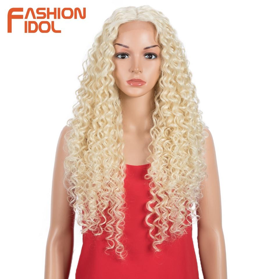 FASHION IDOL-شعر مستعار دانتيل تأثيري 30 بوصة للنساء ، شعر مستعار صناعي ناعم ، مموج ، أمريكي أفريقي ، مقاوم للحرارة ، 613