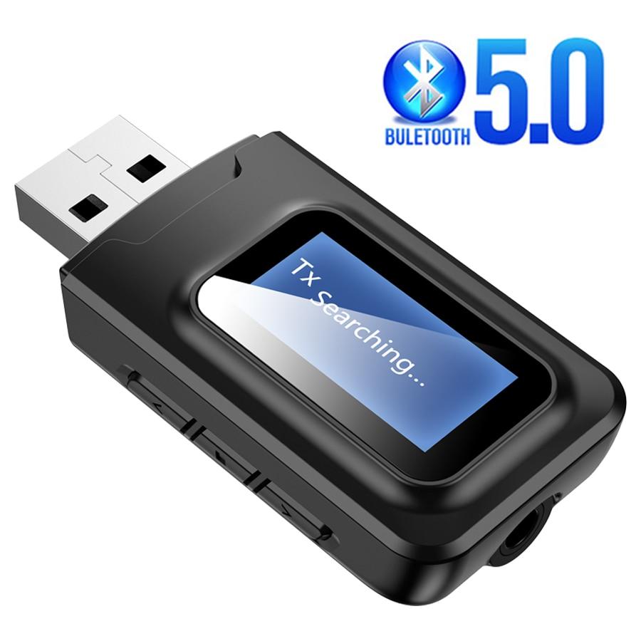 2 em 1 bluetooth 5.0 receptor transmissor de áudio com display lcd mini portátil aux usb adaptador de áudio sem fio para tv carro pc