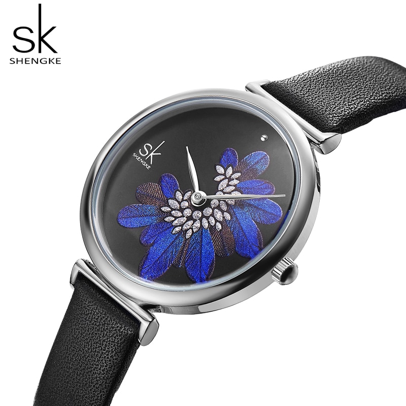 Shengke Creative Women Watches Wrist Watch 2019 SK Leather Strap Wristwatch for Women Blue Feather Clock Stylish Quartz Clock enlarge