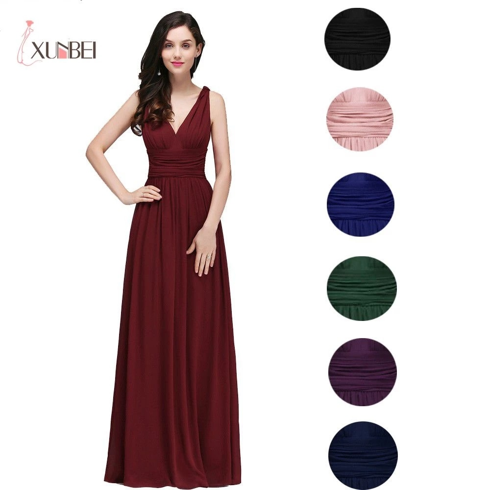 فستان سهرة طويل برقبة على شكل V لون عنابي أنيق موضة 2021 بدون أكمام شيفون مكشكش رسمي للحفلات