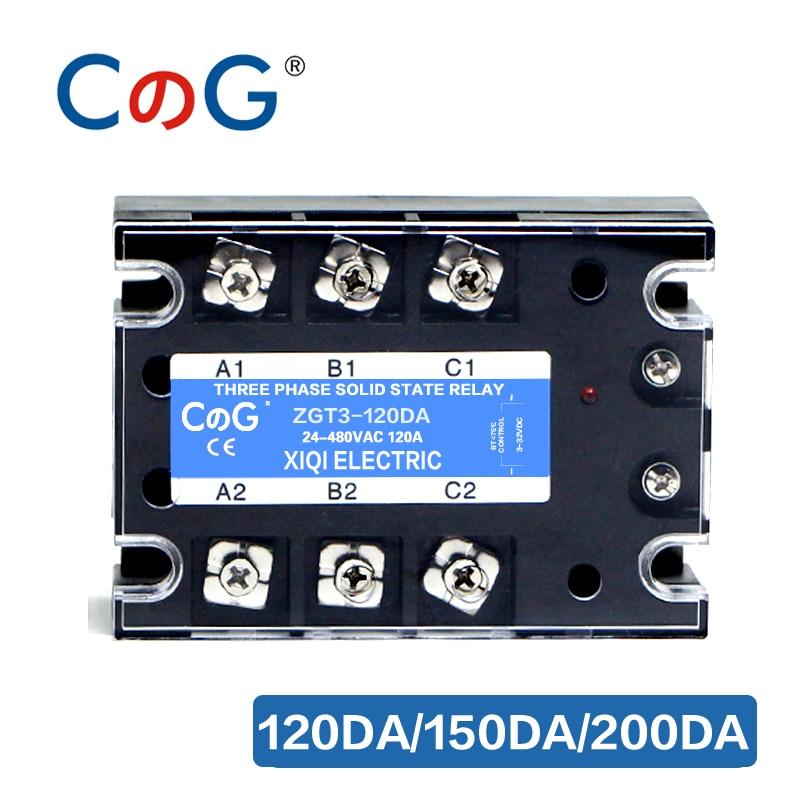CG 3 Phase 120A 150A 200A DA ثلاث مراحل SSR تيار مستمر التحكم التيار المتناوب الحالة الصلبة تتابع SSR 3-32 فولت تيار مستمر إلى 24-480 فولت التيار المتناوب
