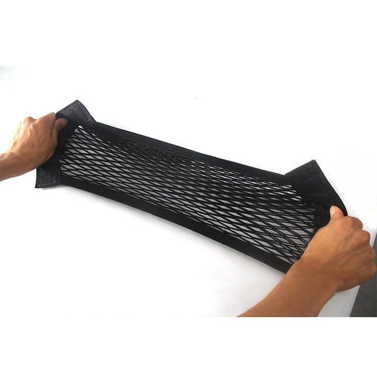 Maletero del coche de Velcro doble capa de red auto extintor soporte de montaje tronco de almacenamiento elástico neto bolsa