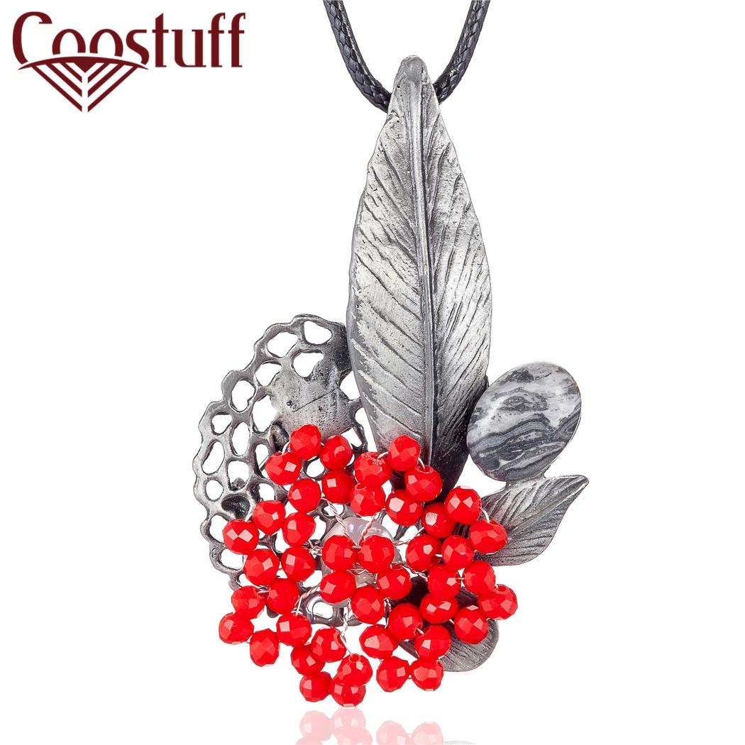 Collar largo de joyas Vintage para mujer, colgante de cuentas de cristal rojas con flores, cadenas de cuerda negras, Gargantilla colar con colgante de joyería