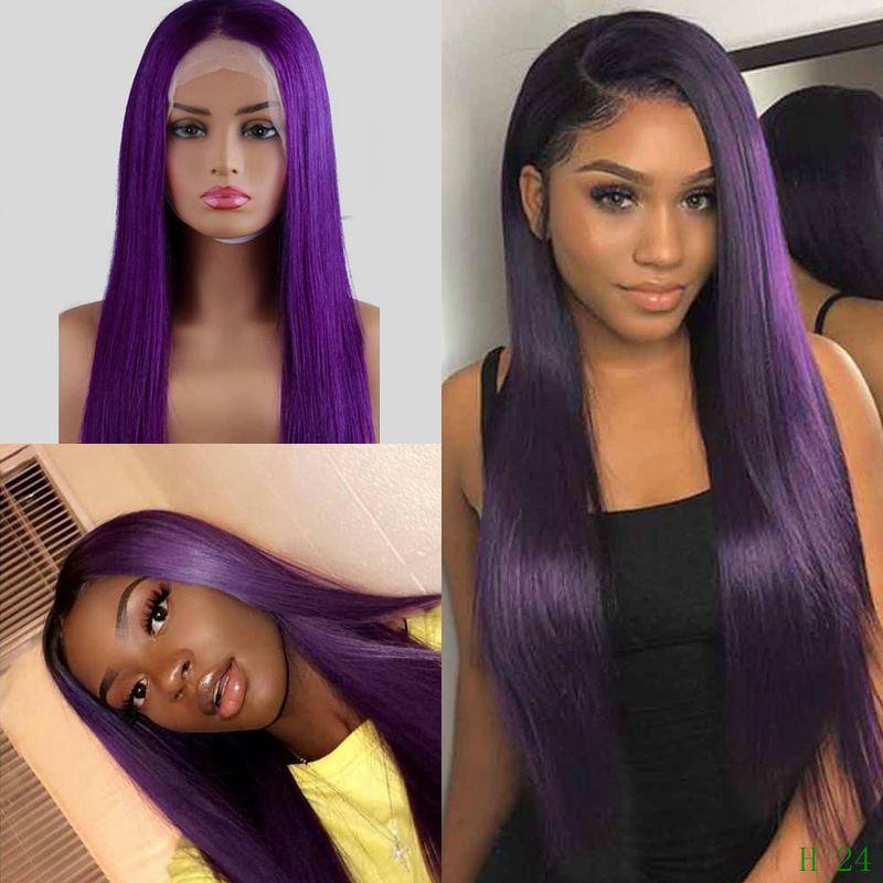 Ombre 1B Purple Long Straight 13x4 Lace Front Brazilian Virgin Human Hair Wig 180 Density