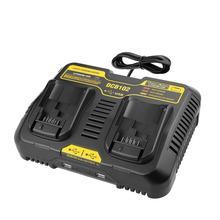 High quality Fast charging DCB102 Li-ion Battery charger For DeWalt 12V 14.4V 18V 20V double charging postion with Dual USB Port