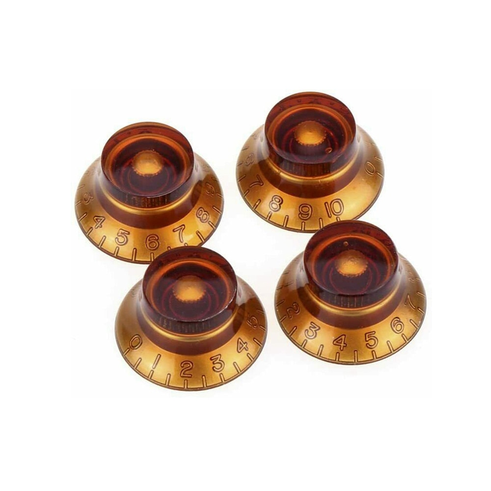 4Pcs Guitar Knobs Bass Top Hat Bell Speed Knobs for Les Paul SG Amber