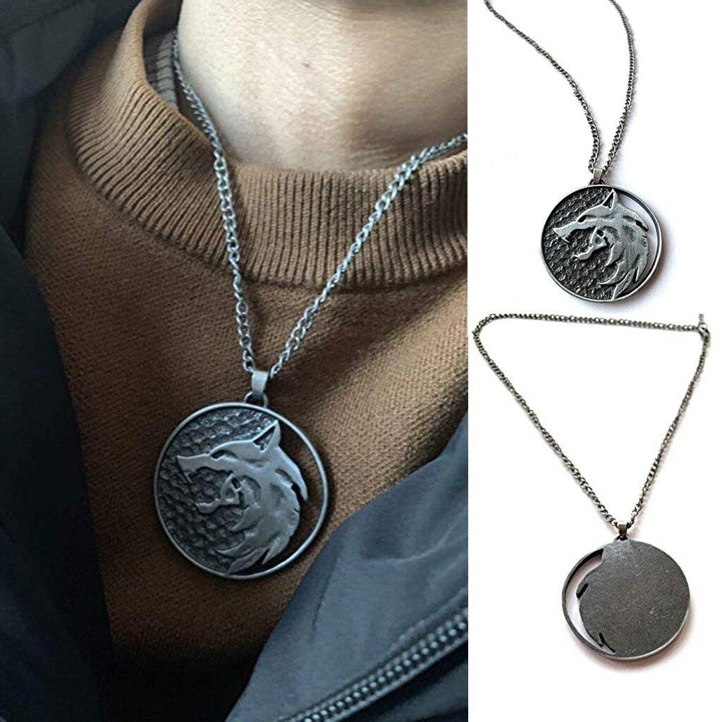 Collar de cabeza de Lobo de moda, collar con nombre, colgante, joyería de moda, medallón de fiesta, Lobo, collar redondo, regalo largo para hombres 0128