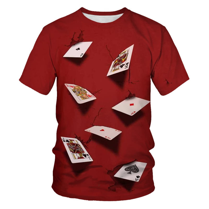Summer fashion men's and women's shirts 3D playing cards printed casual T-shirt men's hip-hop clothing Asian size 110-6XL