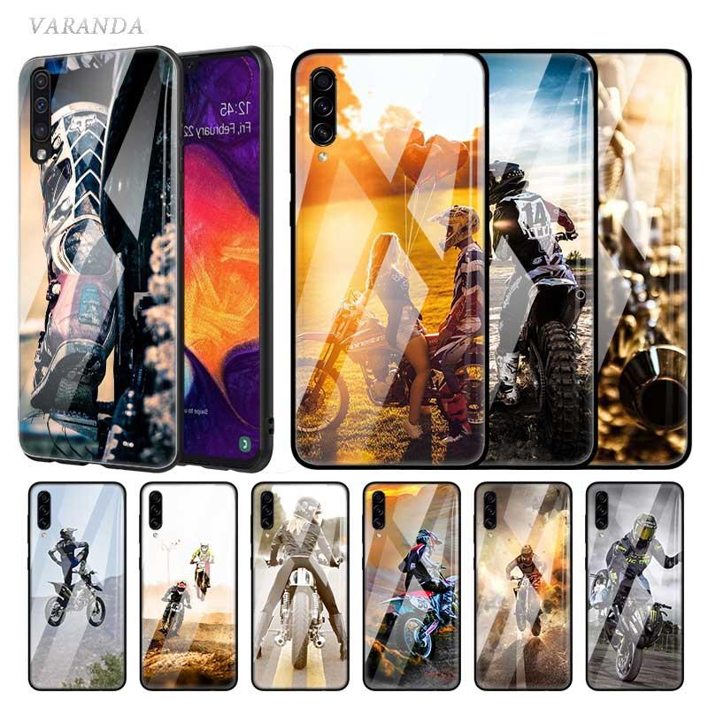 Funda de cristal Moto Cross dirt bikes para Samsung Galaxy A70 A50 A40 A30 A20 S A10 A91 J4 J6 Plus A51 A71 teléfono templado Coq