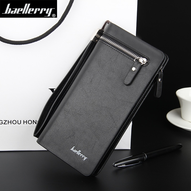 Baellerry Men Wallets Business Long Style Card Holder Male Purse Quality PU Zipper Large Capacity Luxury Wallet For Clutch