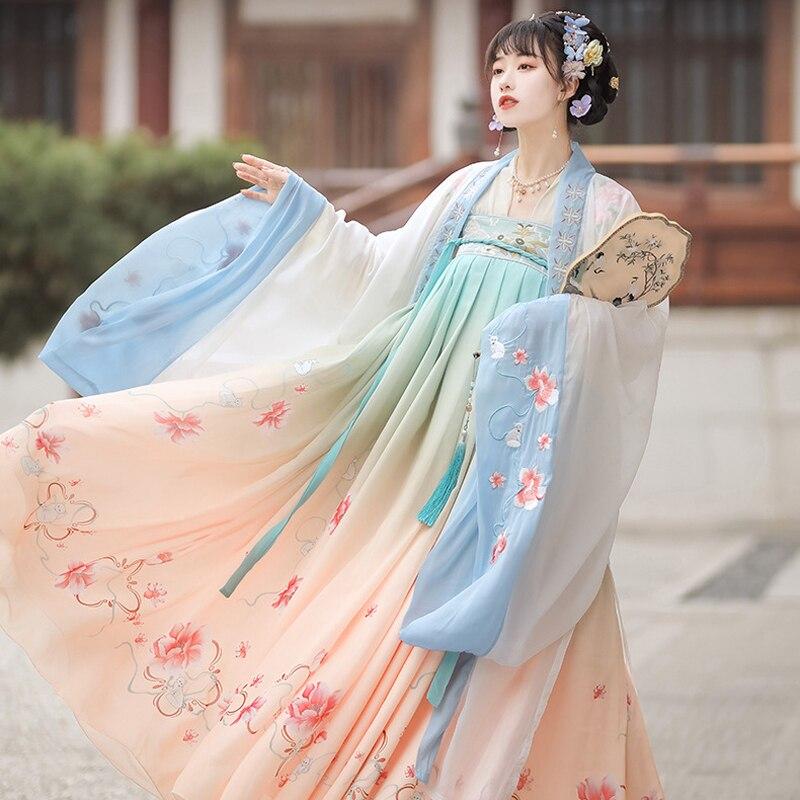Женский комплект одежды, Женский костюм Hanfu с цветочным принтом, волшебный косплей в ретро стиле, новинка 2021, уличная одежда