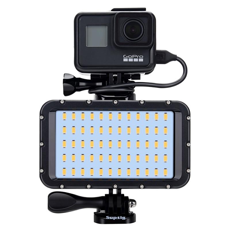 ملء مصباح ضوء الطاقة ضوء الكاميرا الغوص إضاءة LED مقاومة للماء ل GoPro بطل 9 7 8 6 5 شاومي يي 4K Mijia Sjcam SJ8/10 H9R T5E