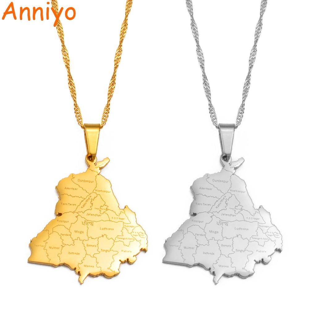 Anniyo – collier avec pendentif carte de l'état du Punjab indien, bijoux, #233521