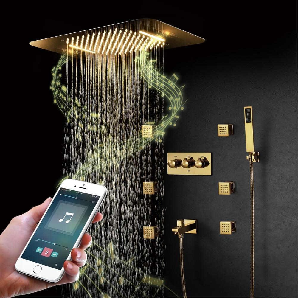 Ti -PVD الذهب الموسيقى دش أنظمة المطر LED دش رئيس الحنفية شلال الحمام صنبور الساخن Cold أخفى خلاط دش المتكلم