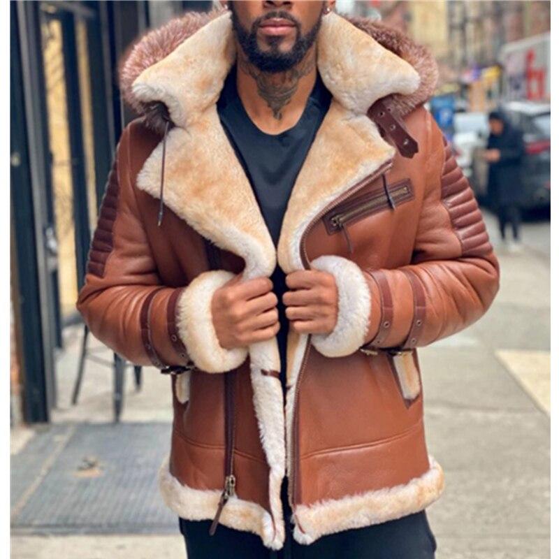 WEPBEL الرجال معطف جلد الموضة مقنعين سترة Vintage بلون رشاقته معطف دافئ دراجة نارية جاكيتات الشتاء معطف مقنع