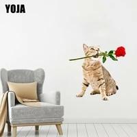 YOJA     autocollant mural chat avec une Rose en bouche  45x45CM  decoration moderne  dessin anime  animal  decoration pour la maison  8WS0290
