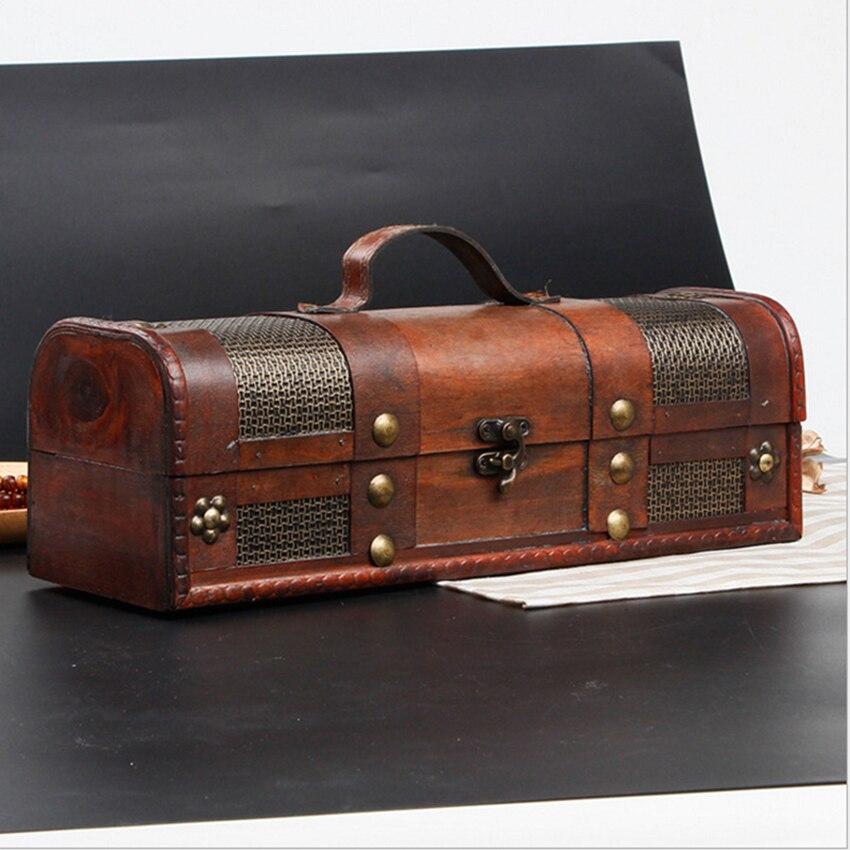 Caja decorativa del Tesoro de madera con correas antigua caja de almacenamiento del vino de la vendimia para la decoración de la boda de la fiesta del cumpleaños