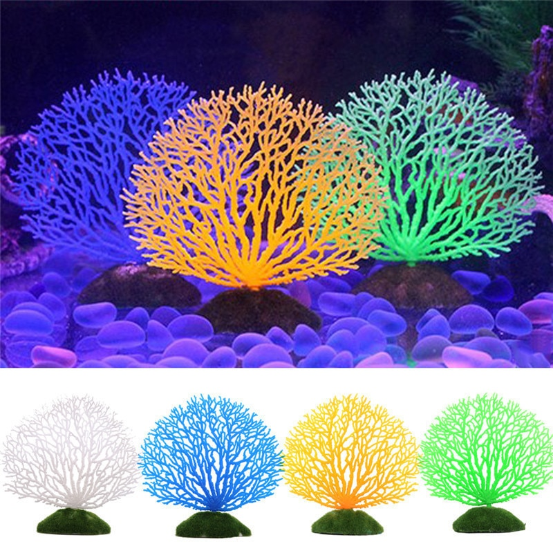 Tanque de peixes de Aquário Paisagismo Artificial Coral Algas Árvore Silicone Luminous Fluorescência