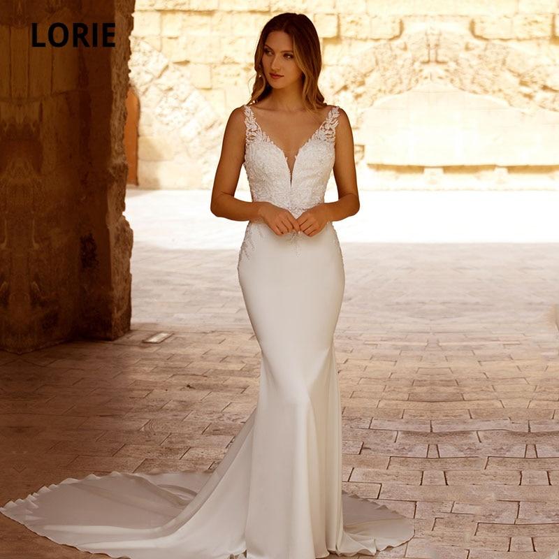 Свадебные платья LORIE в стиле бохо с V-образным вырезом и кружевной аппликацией, эластичное шифоновое белое платье с открытой спиной в стиле р...
