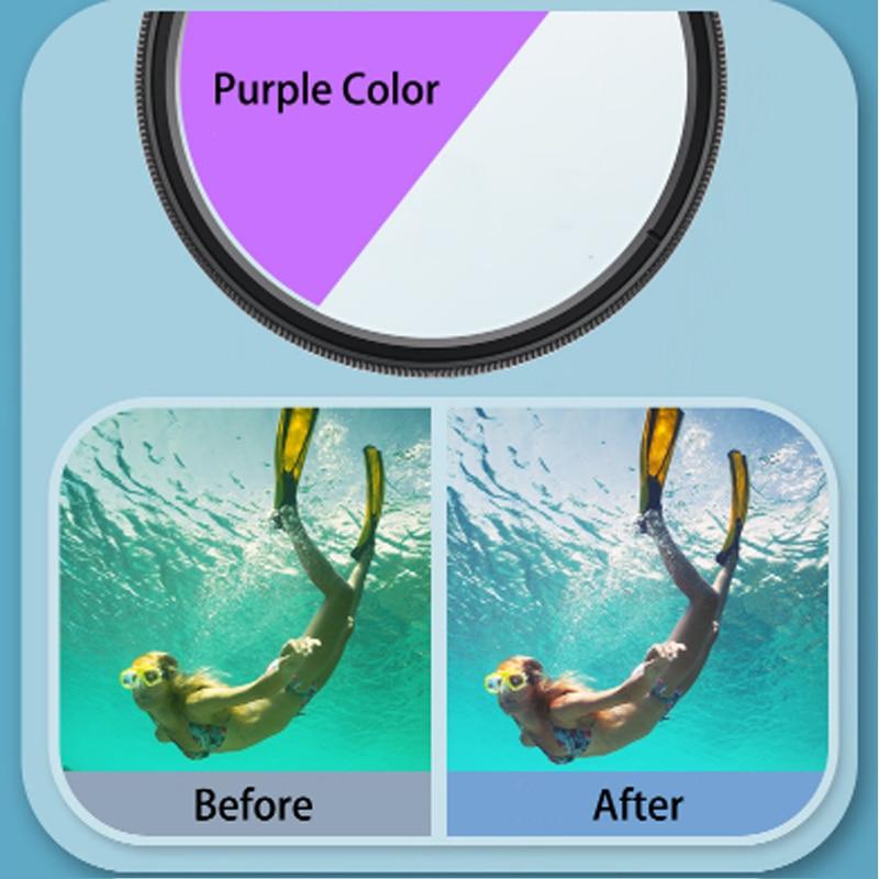 16x HD Macro Close up Lens + Red/Purple Diving Filter 58mm Adapter Ring Lens Cap for GoPro Hero 8/Hero 9 Waterproof Housing Case enlarge