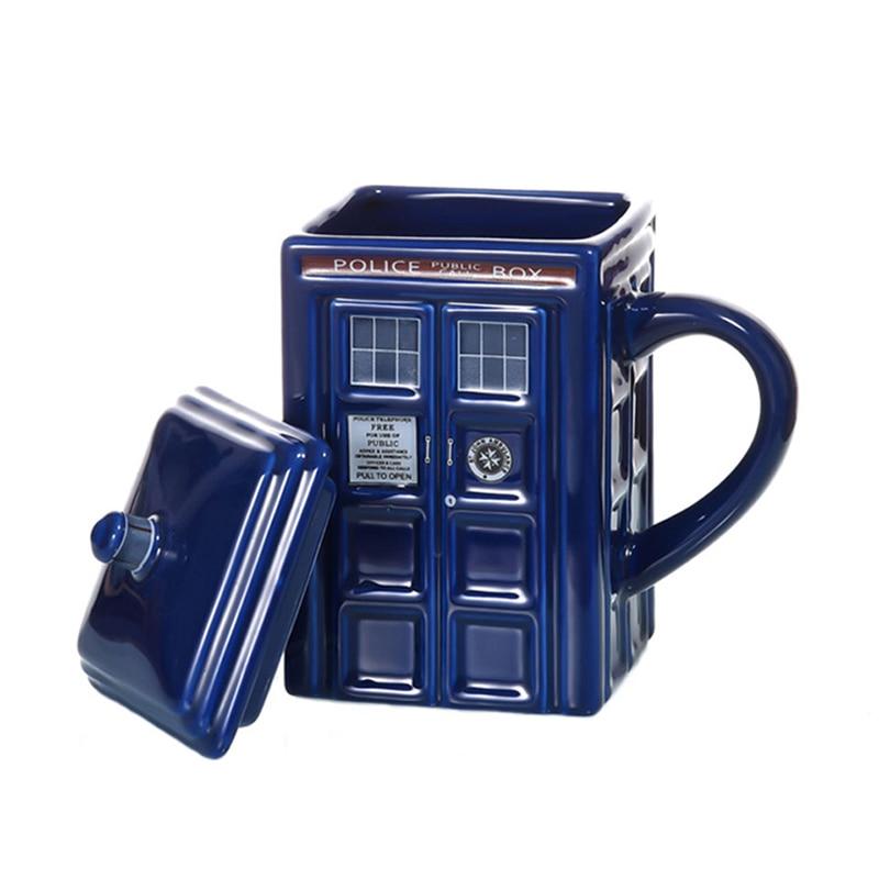 Doctor Who Tardis Police Box Coffee Mug Ceramic Cup With Lid Cover For Tea Milk Mugs Creative Christmas Presents For Kids