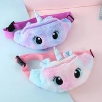 cute unicorn childrens fanny pack girls waist bag plush toys belt gradient color chest bag cartoon coin purse travel chest bag